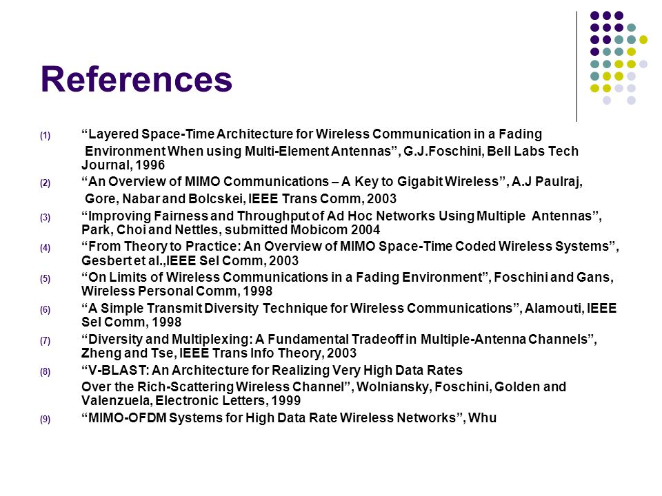 References Layered Space-Time Architecture for Wireless Communication in a Fading.
