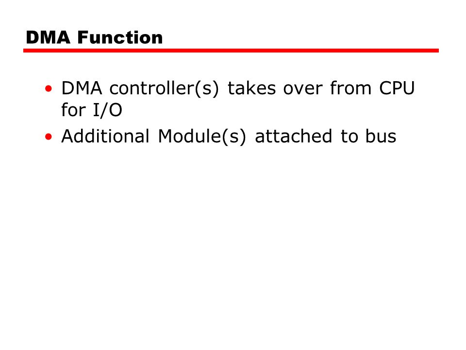 DMA Function DMA controller(s) takes over from CPU for I/O Additional Module(s) attached to bus