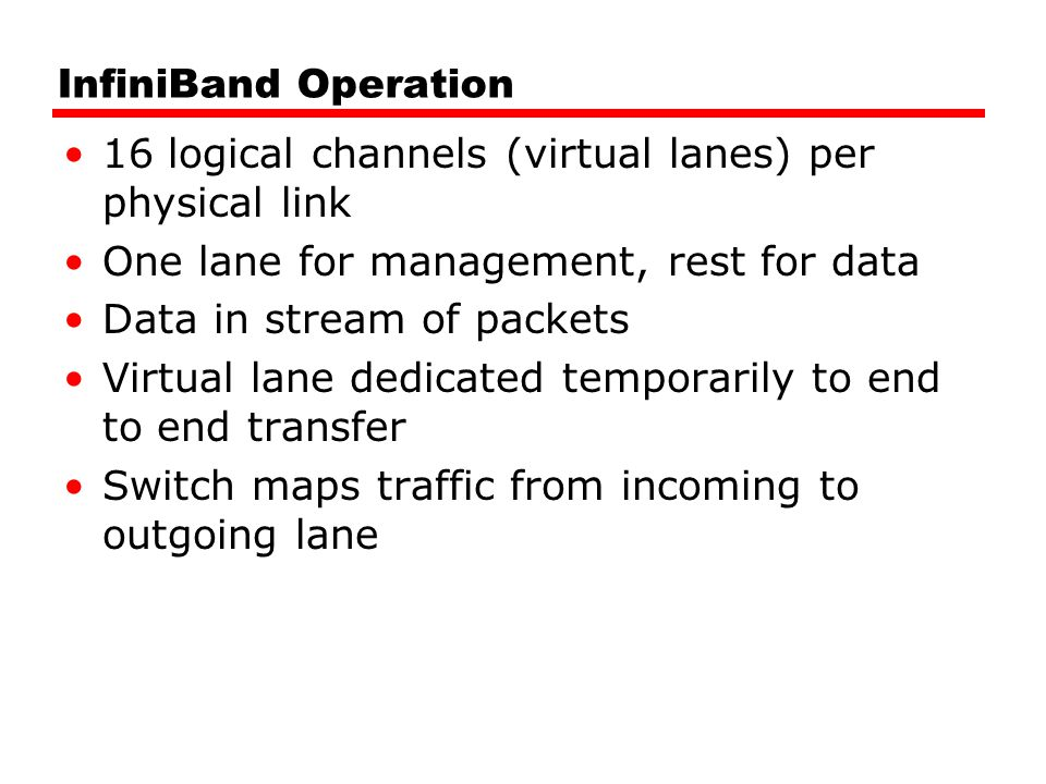 InfiniBand Operation 16 logical channels (virtual lanes) per physical link. One lane for management, rest for data.