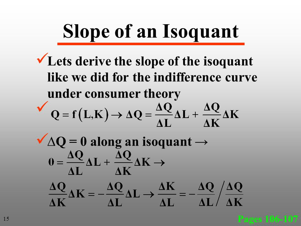 Slope of an Isoquant Lets derive the slope of the isoquant like we did for the indifference curve under consumer theory.