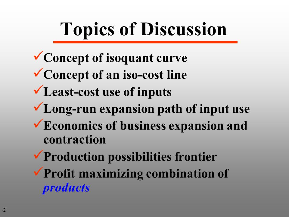 Topics of Discussion Concept of isoquant curve
