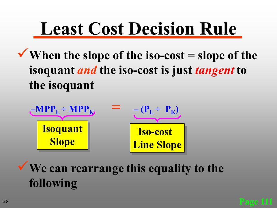 Least Cost Decision Rule