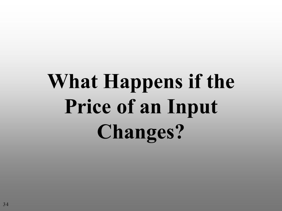 What Happens if the Price of an Input Changes