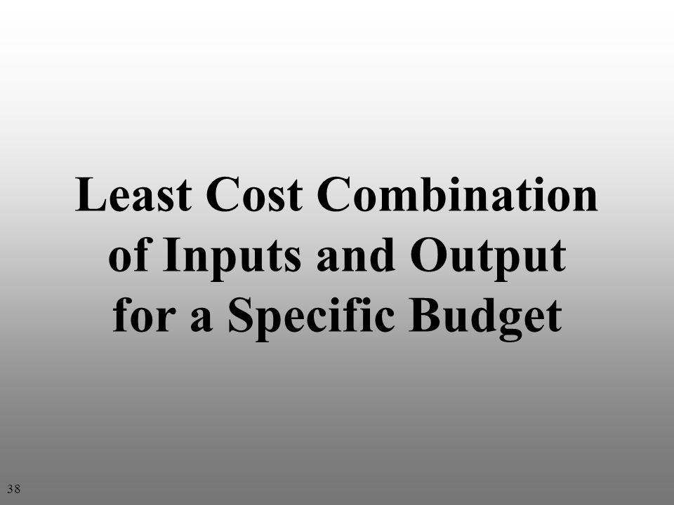 Least Cost Combination of Inputs and Output for a Specific Budget