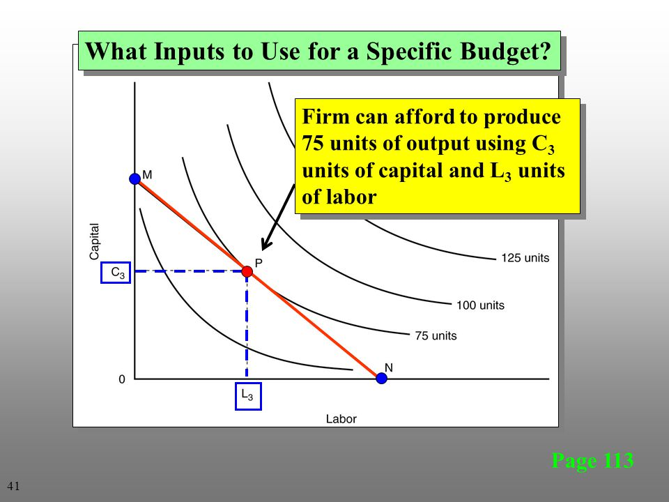 What Inputs to Use for a Specific Budget