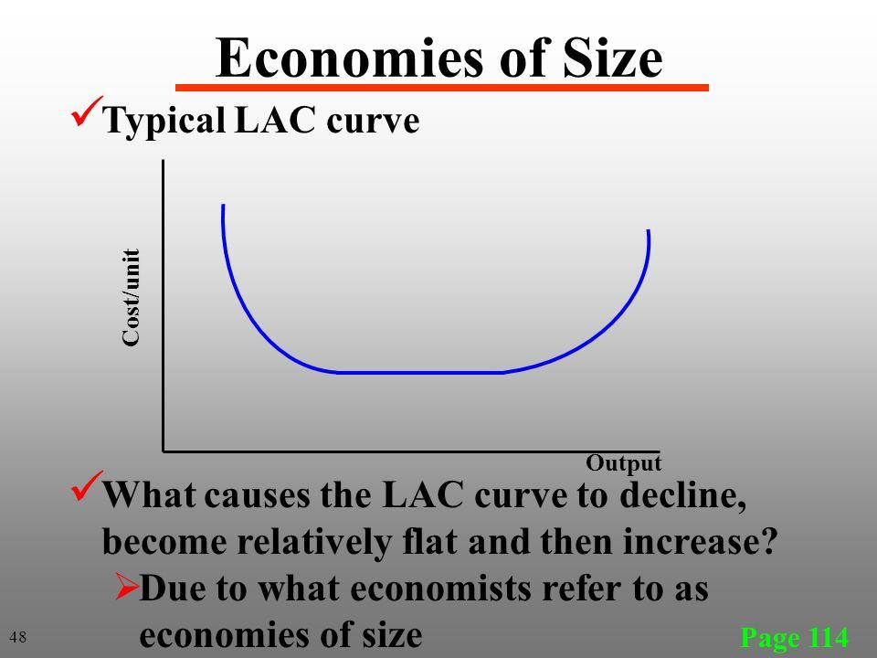 Economies of Size Typical LAC curve