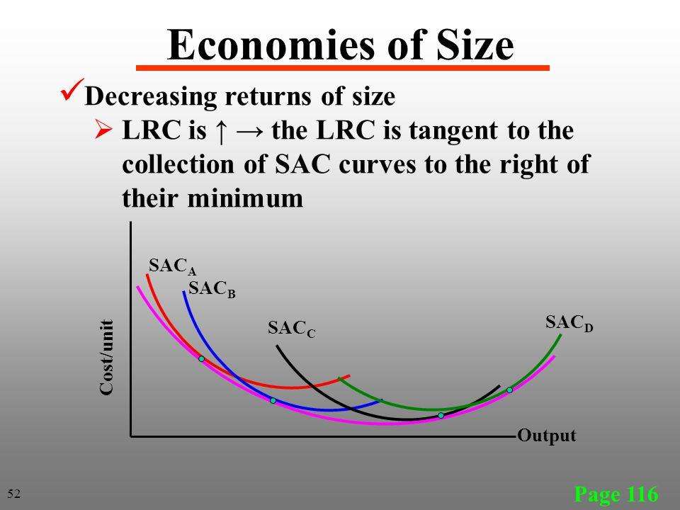 Economies of Size Decreasing returns of size
