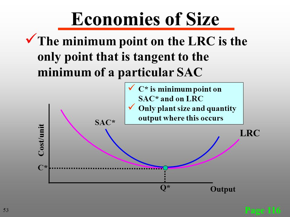 Economies of Size The minimum point on the LRC is the only point that is tangent to the minimum of a particular SAC.