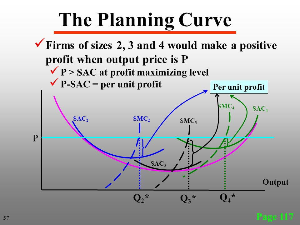 The Planning Curve Firms of sizes 2, 3 and 4 would make a positive profit when output price is P. P > SAC at profit maximizing level.