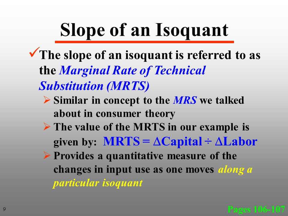 Slope of an Isoquant The slope of an isoquant is referred to as the Marginal Rate of Technical Substitution (MRTS)