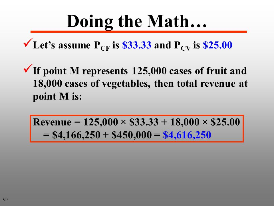 Doing the Math… Let's assume PCF is $33.33 and PCV is $25.00