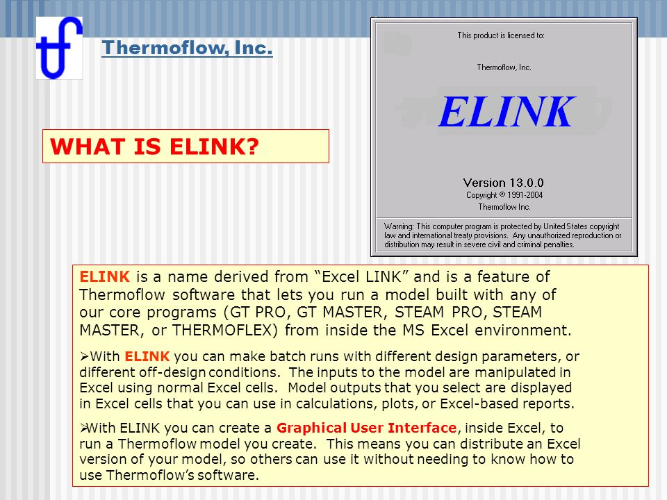 WHAT IS ELINK Thermoflow, Inc.