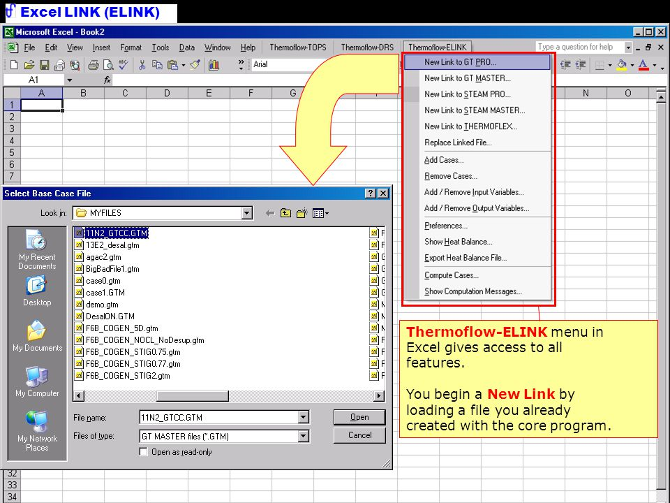 New Link Thermoflow-ELINK menu in Excel gives access to all features.