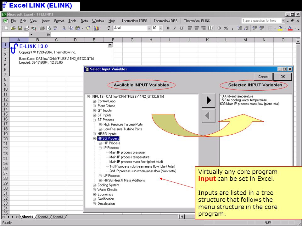 Select Inputs Virtually any core program input can be set in Excel.