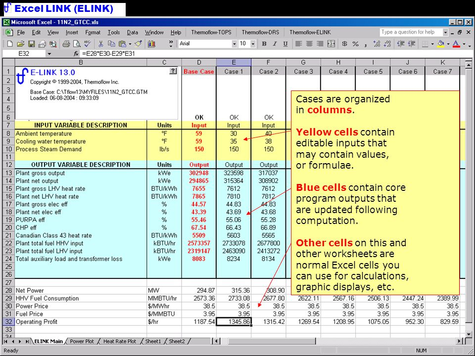 Main Worksheet Cases are organized in columns.