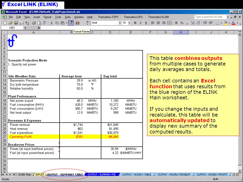 Tabulate Results This table combines outputs from multiple cases to generate daily averages and totals.