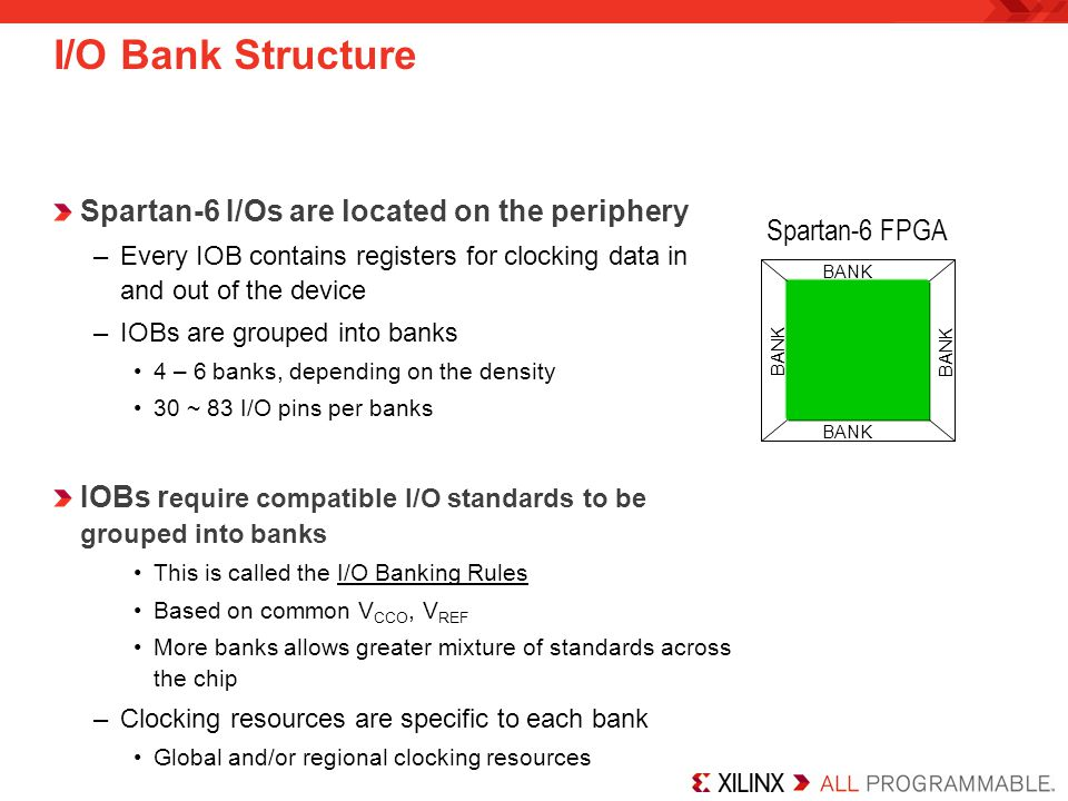 I/O Bank Structure Spartan-6 I/Os are located on the periphery