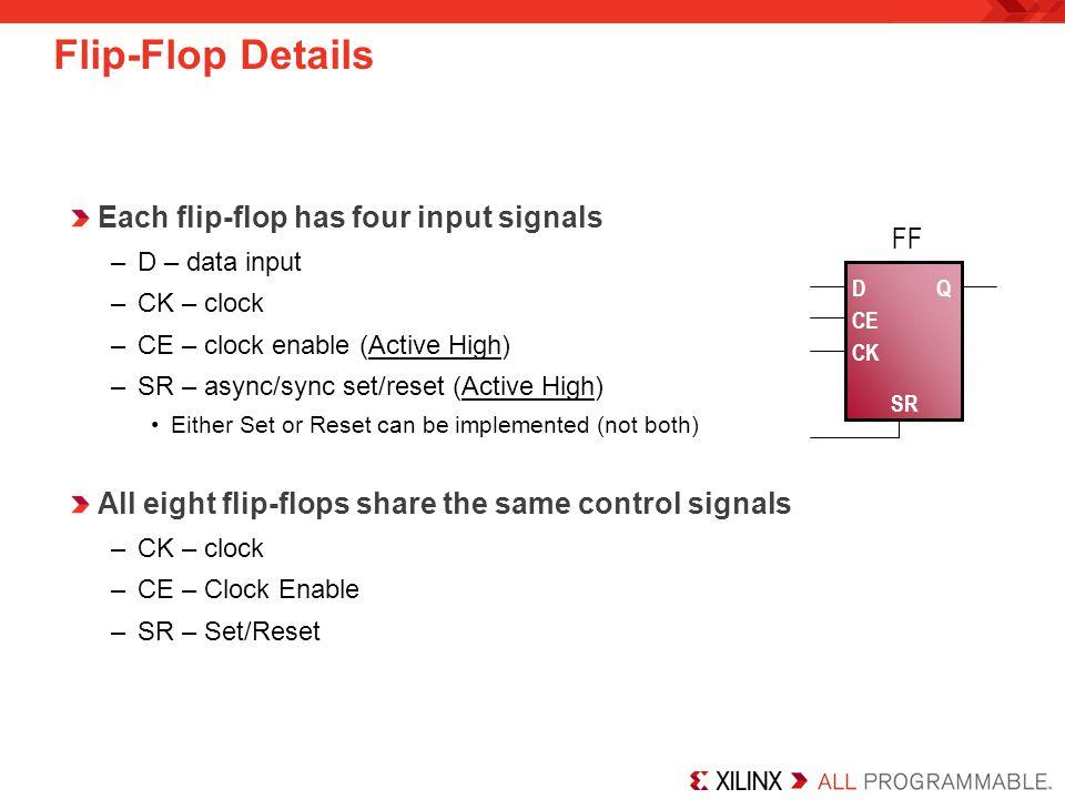 Flip-Flop Details Each flip-flop has four input signals FF