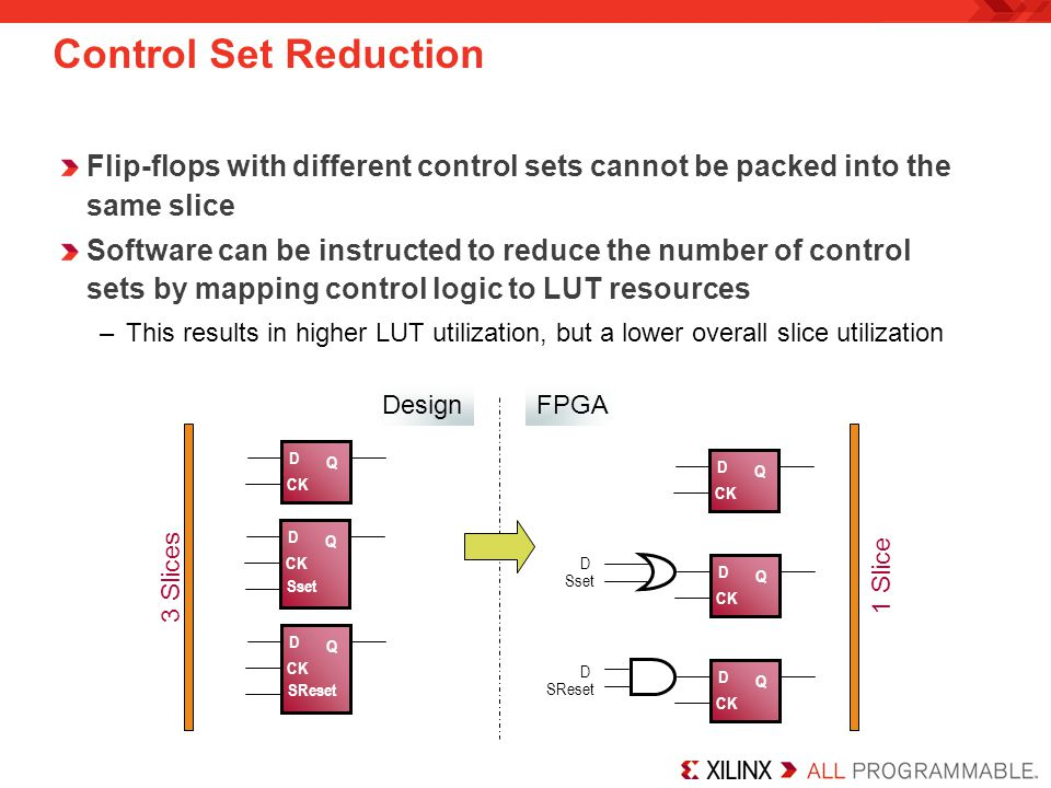 Control Set Reduction Flip-flops with different control sets cannot be packed into the same slice.