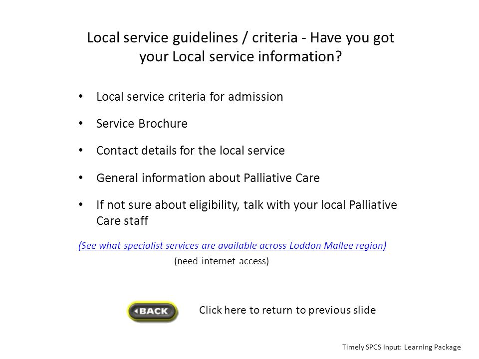 Local service guidelines / criteria - Have you got your Local service information