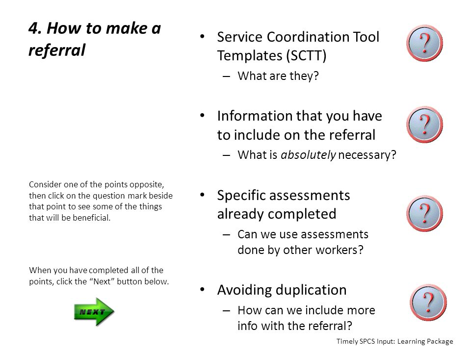 4. How to make a referral Service Coordination Tool Templates (SCTT)