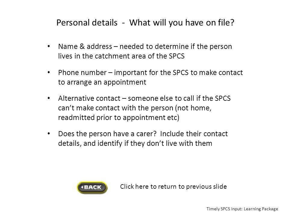 Personal details - What will you have on file