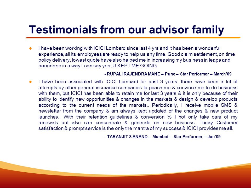 Testimonials from our advisor family