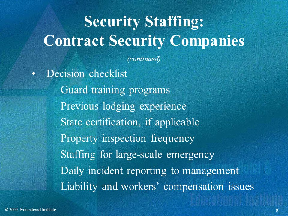Security Staffing: In-House Security Staff