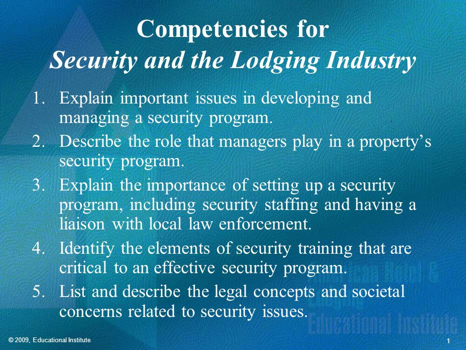 Elements of a Security Program
