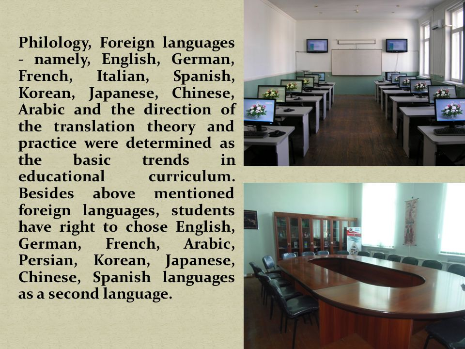 Philology, Foreign languages - namely, English, German, French, Italian, Spanish, Korean, Japanese, Chinese, Arabic and the direction of the translation theory and practice were determined as the basic trends in educational curriculum.