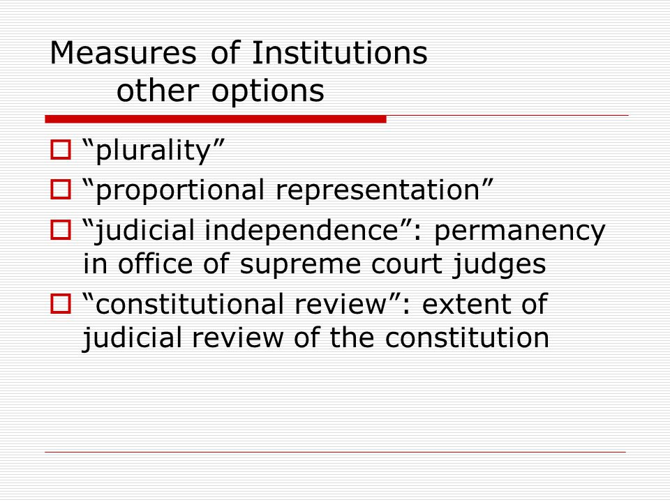 Measures of Institutions other options