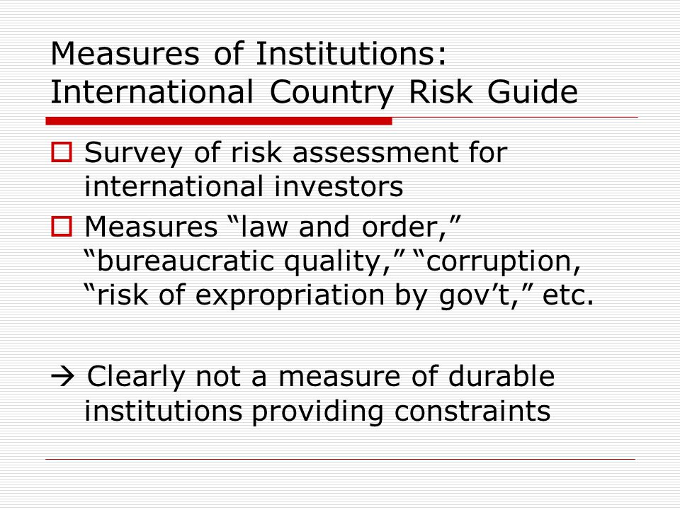 Measures of Institutions: International Country Risk Guide