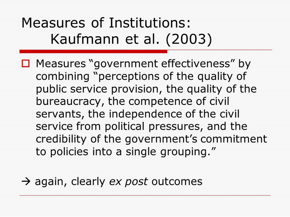 Measures of Institutions: Kaufmann et al. (2003)
