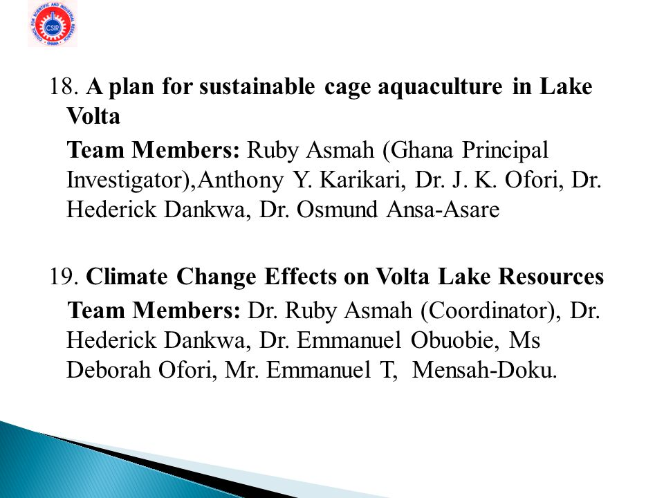 18. A plan for sustainable cage aquaculture in Lake Volta