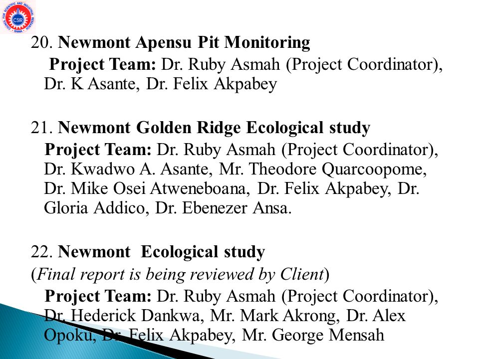 20. Newmont Apensu Pit Monitoring Project Team: Dr