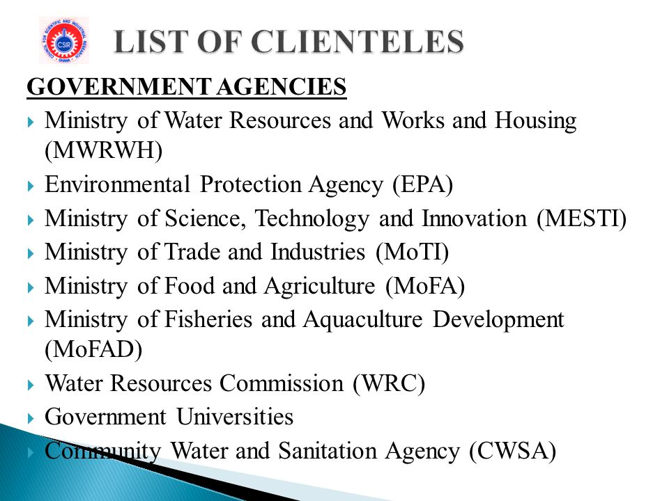 LIST OF CLIENTELES GOVERNMENT AGENCIES