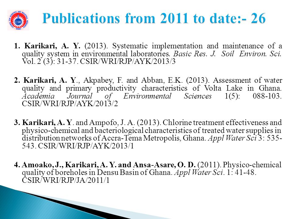 Publications from 2011 to date:- 26