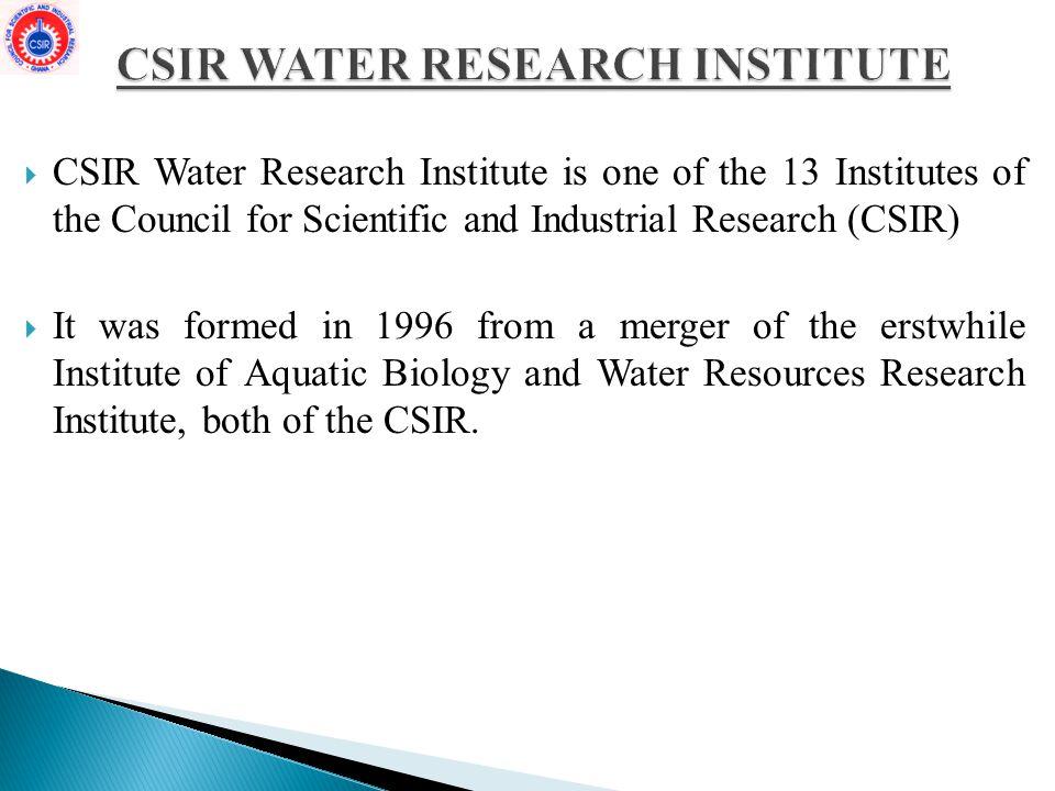 CSIR WATER RESEARCH INSTITUTE