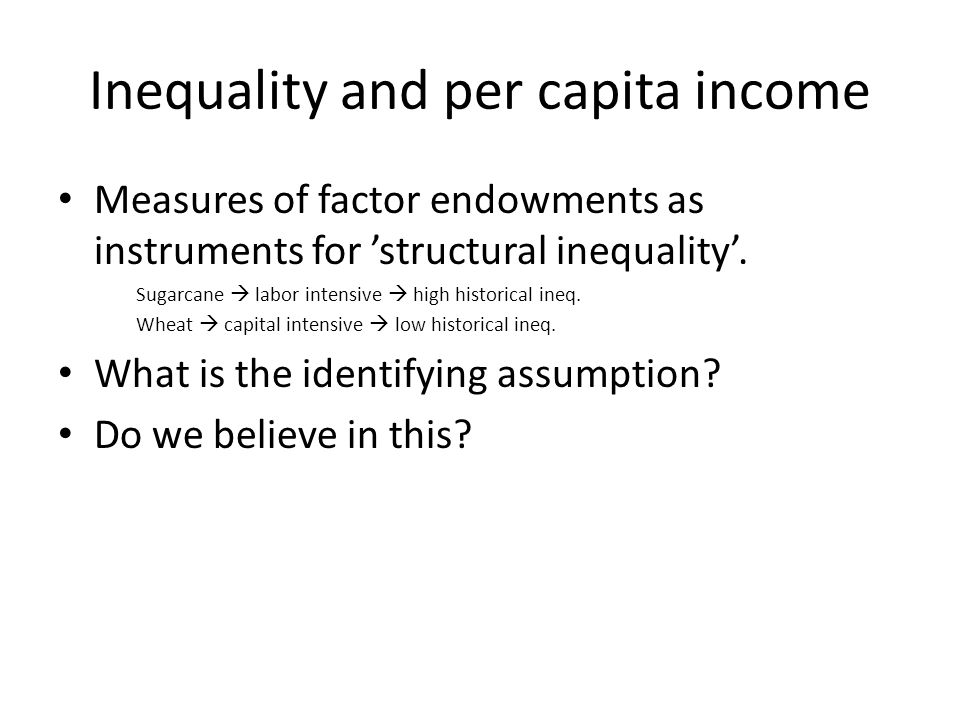 Inequality and per capita income