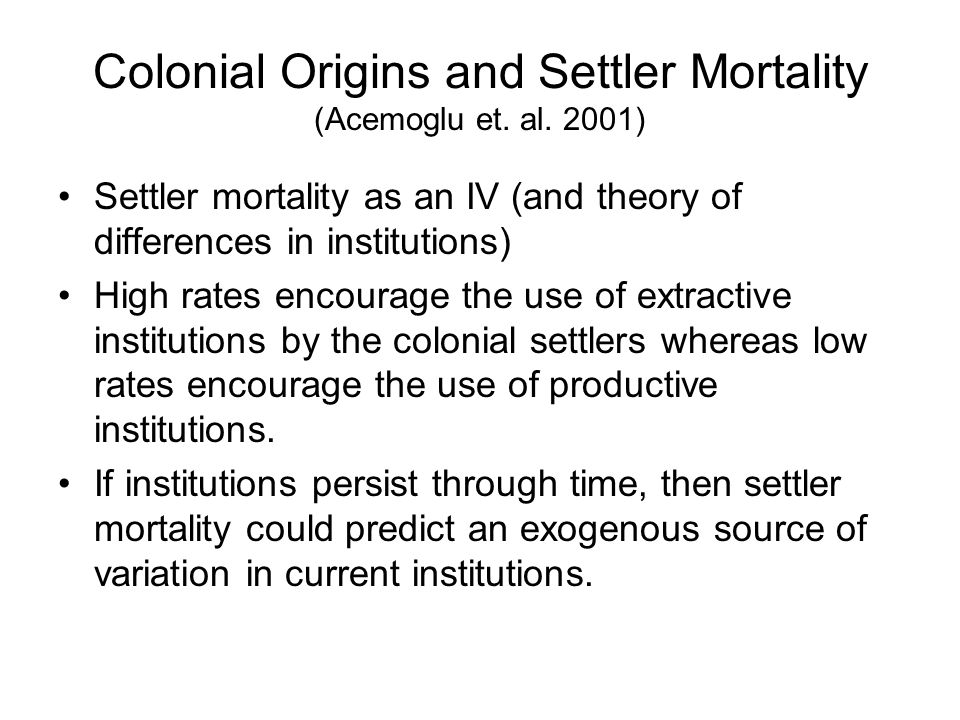 Colonial Origins and Settler Mortality (Acemoglu et. al. 2001)