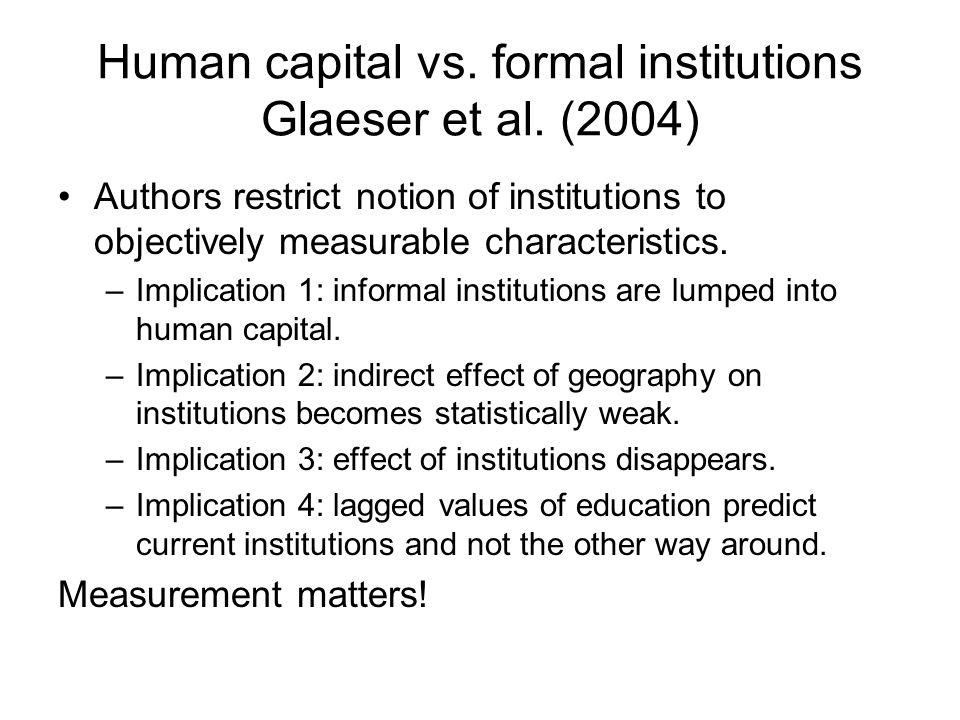 Human capital vs. formal institutions Glaeser et al. (2004)