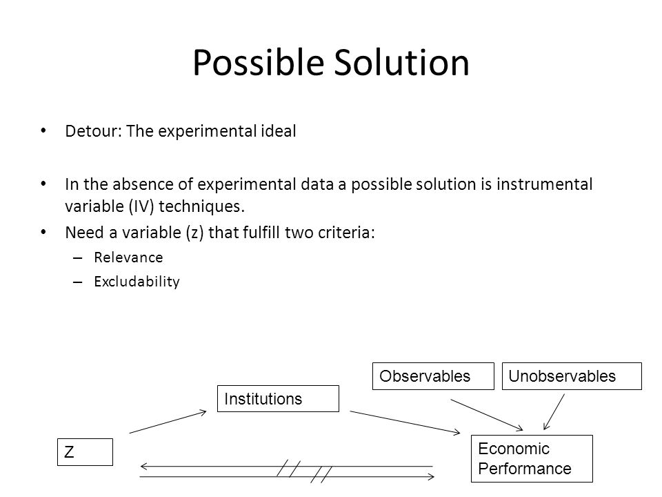 Possible Solution Detour: The experimental ideal