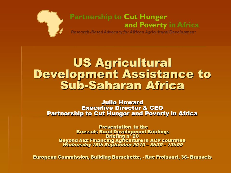 Partnership to Cut Hunger. and Poverty in Africa