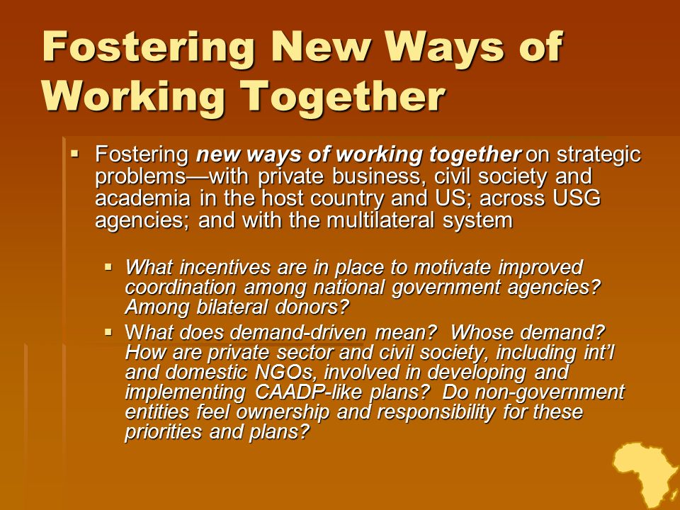 Fostering New Ways of Working Together