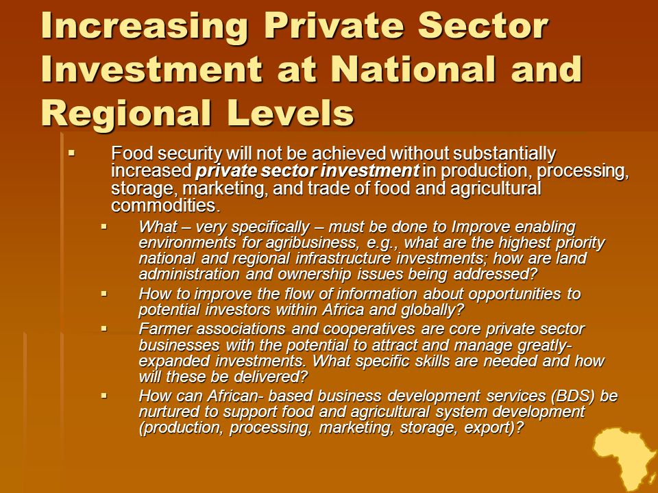 Increasing Private Sector Investment at National and Regional Levels