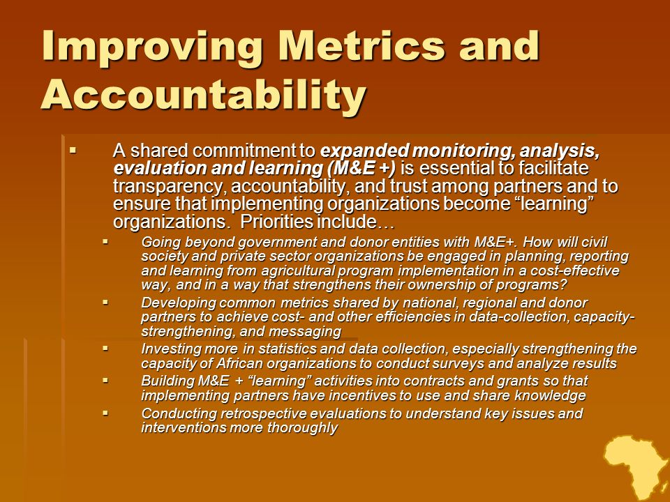 Improving Metrics and Accountability