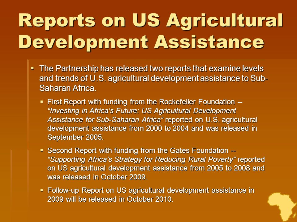 Reports on US Agricultural Development Assistance