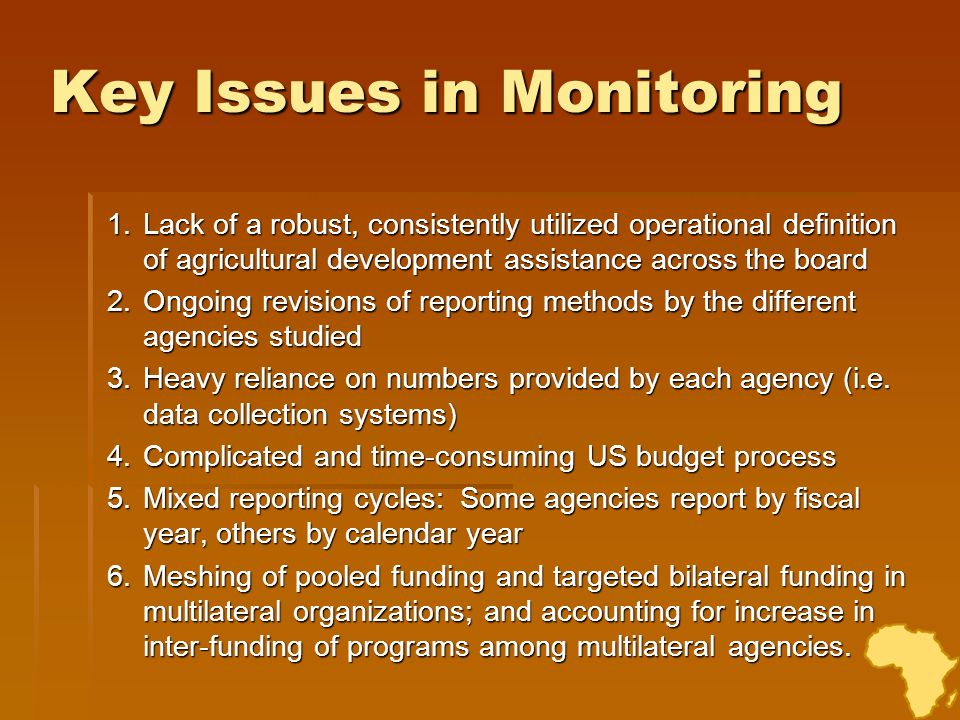 Key Issues in Monitoring