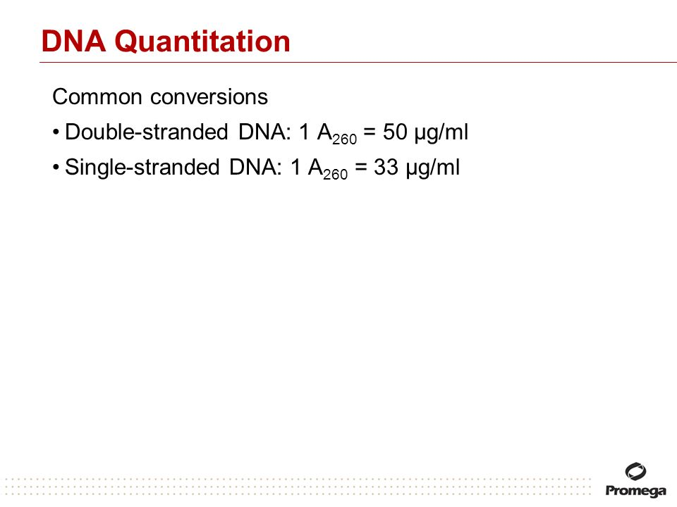 DNA Quantitation Common conversions