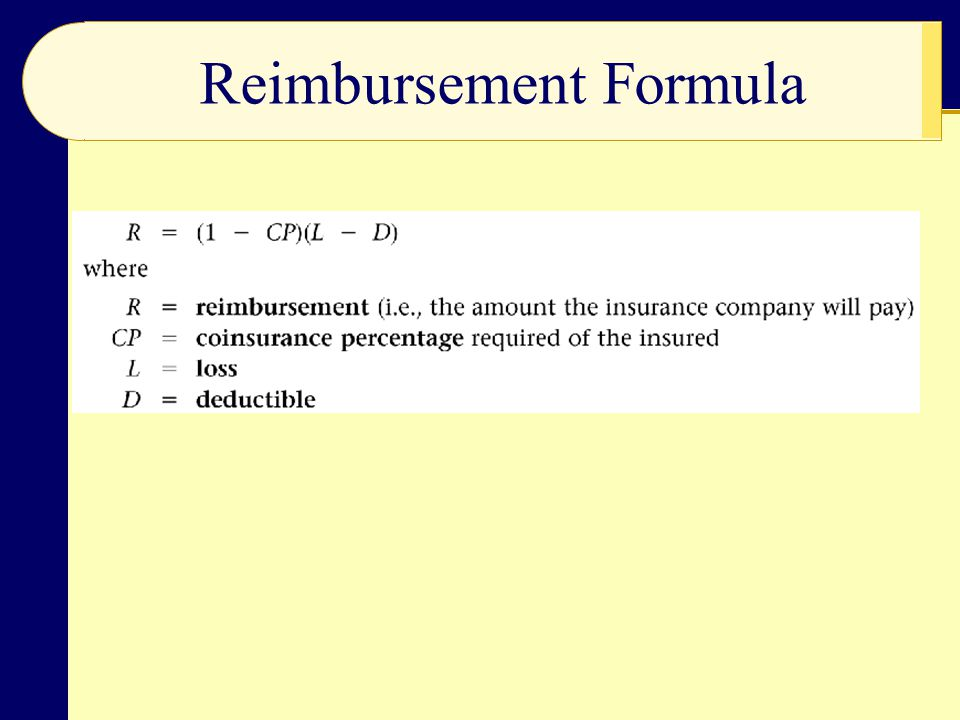 Reimbursement Formula